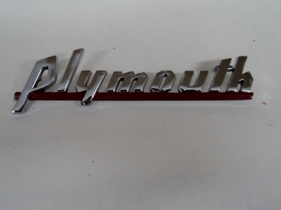 Picture of Plymouth Name Plate With Red Paint 1939 1940